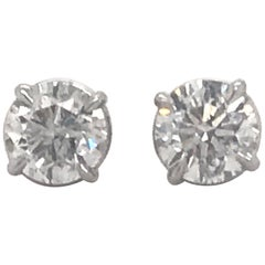 Diamond Stud Earrings 2.02 Carat G-H SI3 14 Karat White Gold