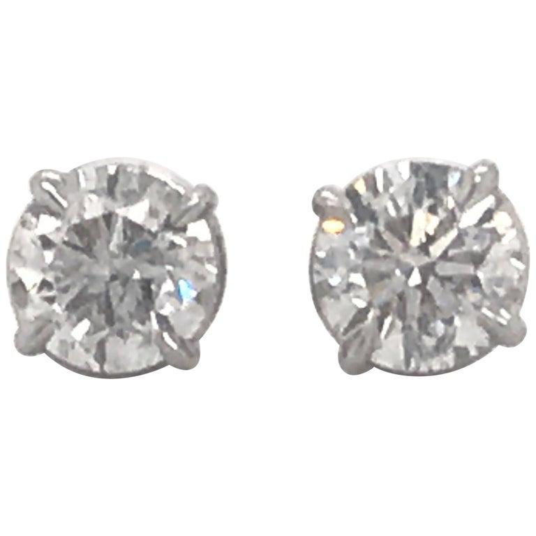 Diamond Stud Earrings 2.02 Carat G-H SI3 14 Karat White Gold For Sale