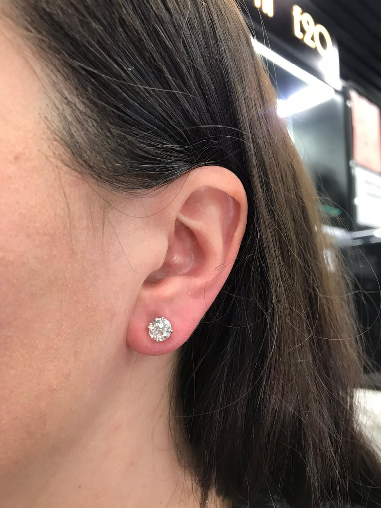 Diamond Stud Earrings 2.02 Carat G I1-I2 14 Karat White Gold In New Condition For Sale In New York, NY
