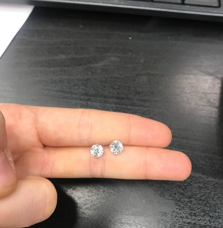 Diamond Stud Earrings, 2.02 Carat GIA Certified, F-G I1-I2 In New Condition For Sale In New York, NY