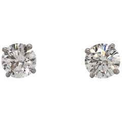 Diamond Stud Earrings 2.03 Carat F-G SI3-I1 14 Karat White Gold