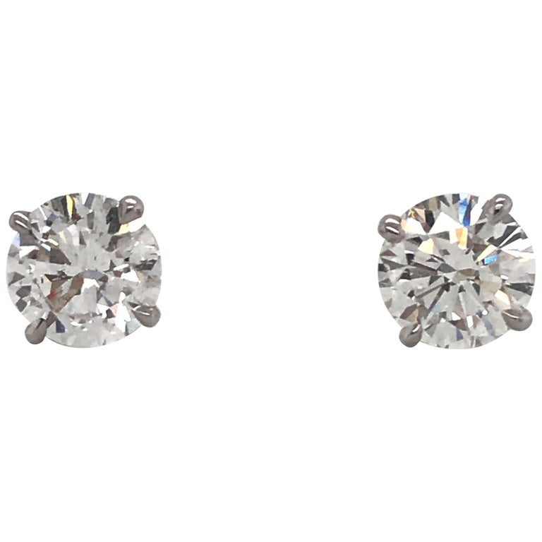 Diamond Stud Earrings 2.03 Carat F-G SI3-I1 14 Karat White Gold For Sale