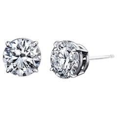 Diamond Stud Earrings 2.03 Carat with GIA Certificates 18 Karat Gold 4-Prong