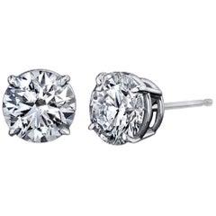 Diamond Stud Earrings 2.04 Carat with GIA Certificates Platinum 4-Prong