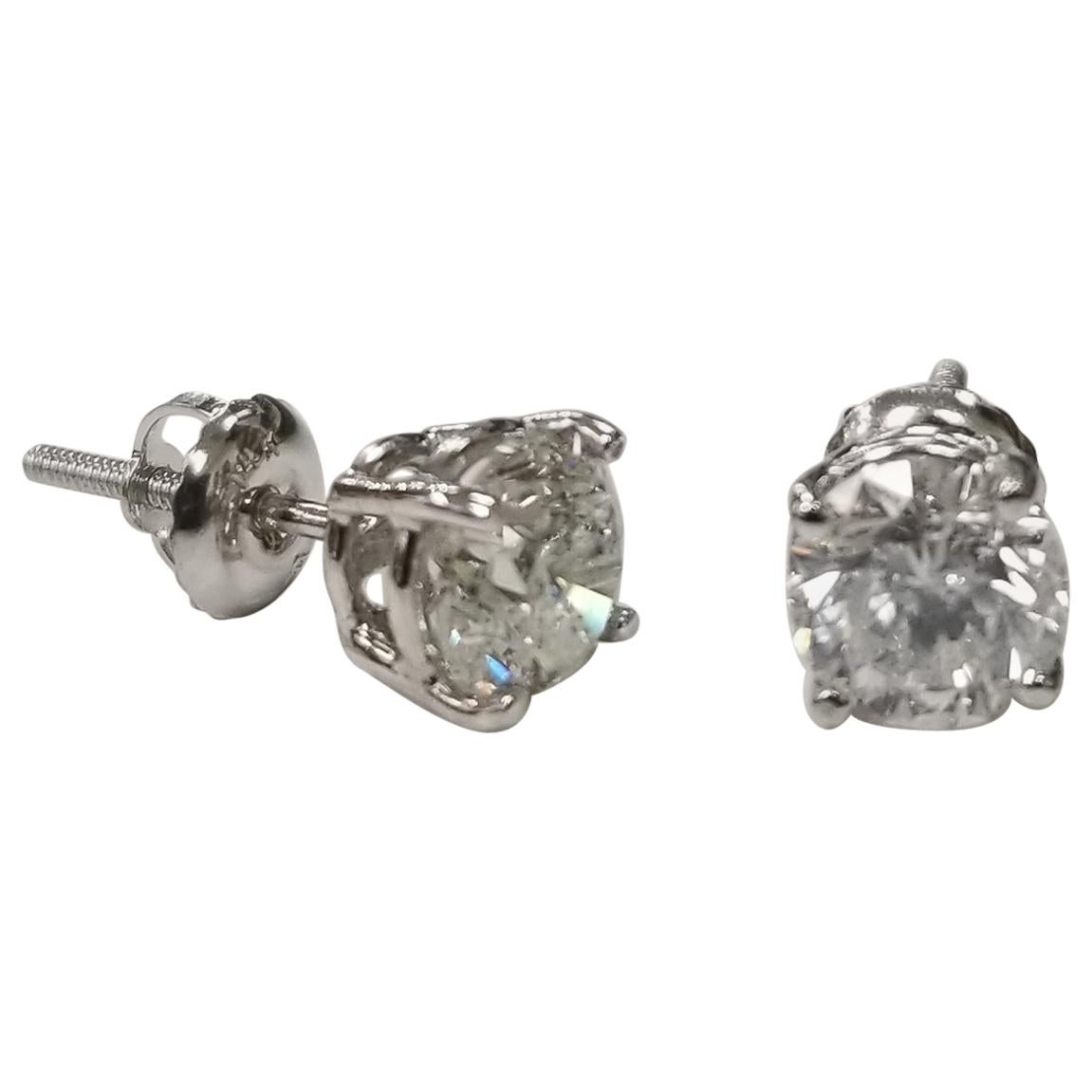 """Diamond Stud Earrings 2.00 Carat, Color """"F"""", Clarity SI2-3"""