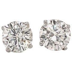 Diamond Stud Earrings 2.29 Carat H I1 18 Karat White Gold