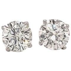 Diamond Stud Earrings 2.29 Carat H I1 18 Karat White Gold