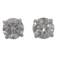 Diamond Stud Earrings 2.38 Carat I I1 14 Karat White Gold