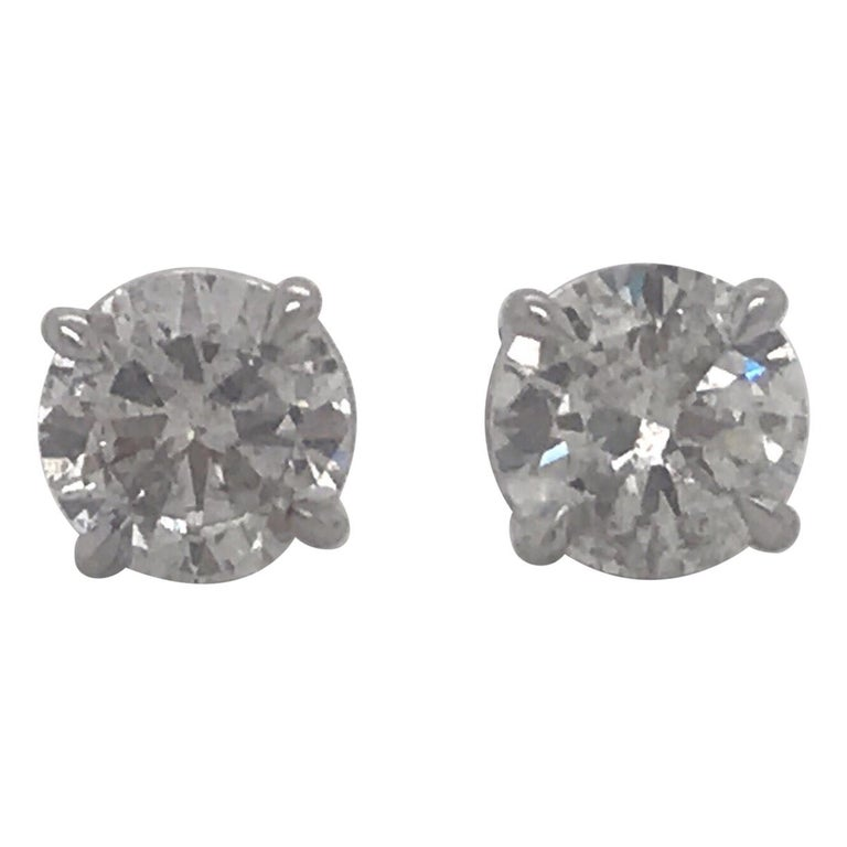 Diamond Stud Earrings 2.38 Carat I I1 14 Karat White Gold For Sale
