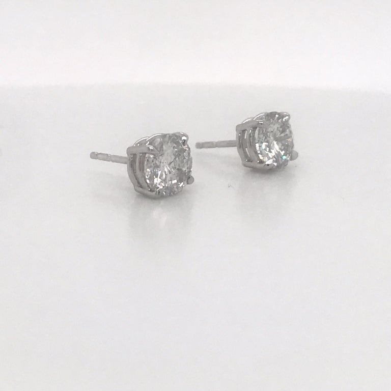Contemporary Diamond Stud Earrings 2.38 Carat I I1 14 Karat White Gold For Sale