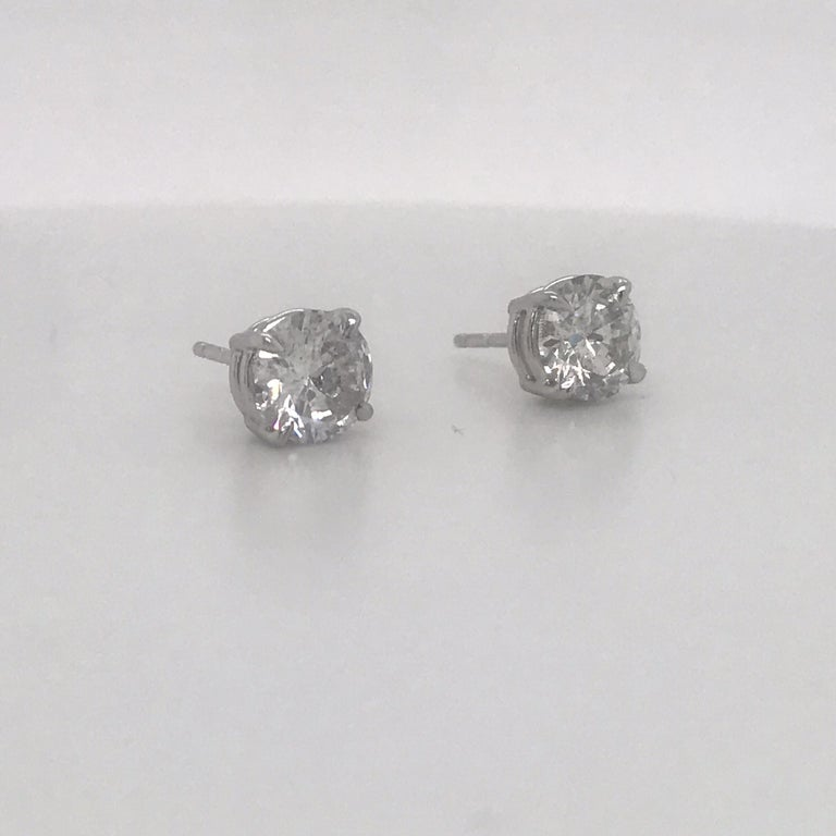 Round Cut Diamond Stud Earrings 2.38 Carat I I1 14 Karat White Gold For Sale