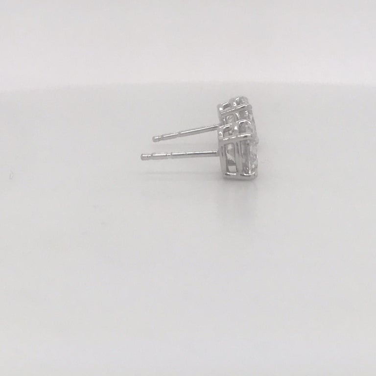 Diamond Stud Earrings 2.38 Carat I I1 14 Karat White Gold In New Condition For Sale In New York, NY