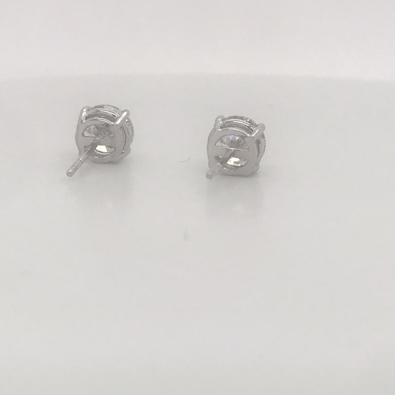 Women's or Men's Diamond Stud Earrings 2.38 Carat I I1 14 Karat White Gold For Sale