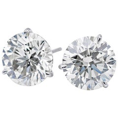 Diamond Stud Earrings, 2.44 Carat GIA Certified, J I1