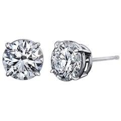 Diamond Stud Earrings 2.80 Carat with GIA Certificates Platinum 4-Prong