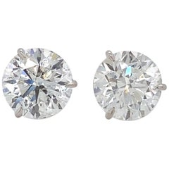 Diamond Stud Earrings 2.84 Carat H-I SI2-I1 18 Karat White Gold