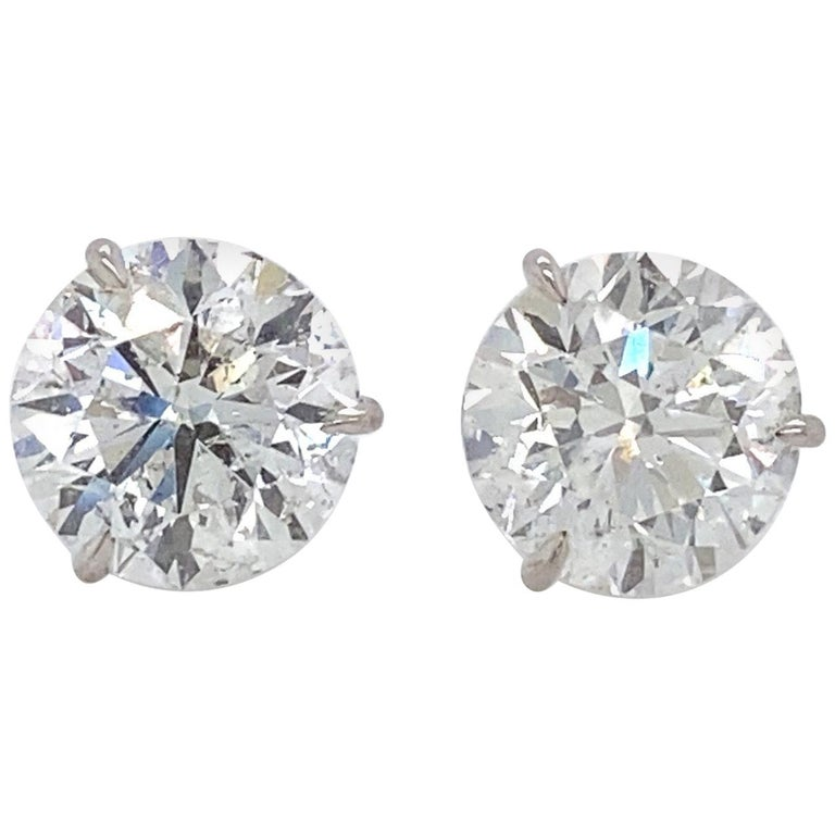 Diamond Stud Earrings 2.84 Carat H-I SI2-I1 18 Karat White Gold For Sale