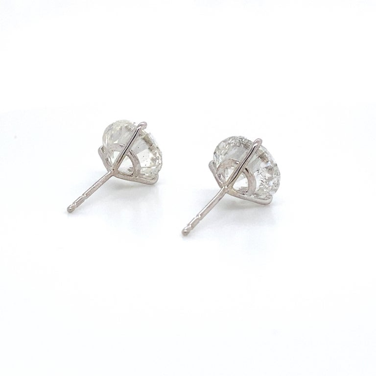 Diamond Stud Earrings 2.84 Carat H-I SI2-I1 18 Karat White Gold In New Condition For Sale In New York, NY