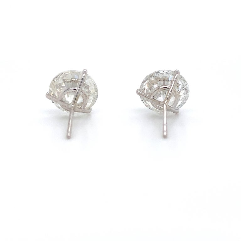 Women's or Men's Diamond Stud Earrings 2.84 Carat H-I SI2-I1 18 Karat White Gold For Sale