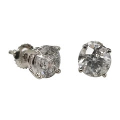 "Diamond Stud Earrings 3.00 Carat Color ""G"", Clarity SI3"