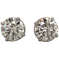 Diamond Stud Earrings 3.00 Carat J VS2-SI1 14 Karat White Gold
