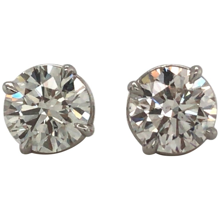 Diamond Stud Earrings 3.00 Carat J VS2-SI1 14 Karat White Gold For Sale
