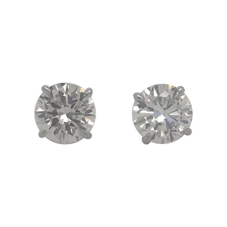 Diamond Stud Earrings 3.00 Carats I-J VS2 18 Karat White Gold For Sale