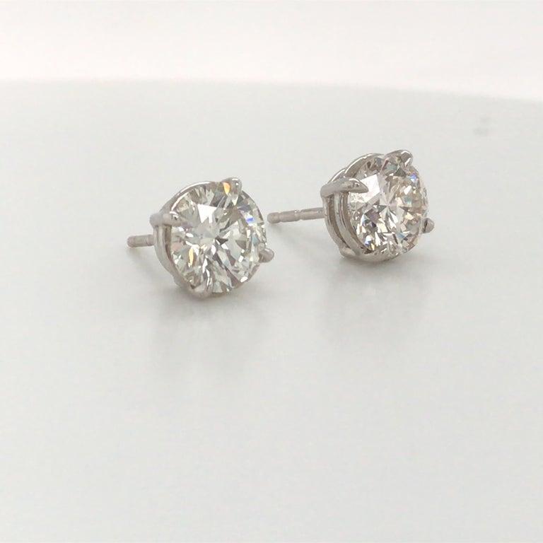 Contemporary Diamond Stud Earrings 3.00 Carat J VS2-SI1 14 Karat White Gold For Sale