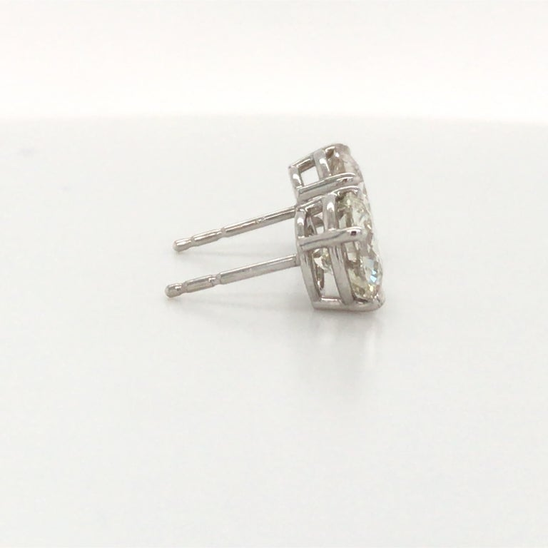 Diamond Stud Earrings 3.00 Carat J VS2-SI1 14 Karat White Gold In New Condition For Sale In New York, NY