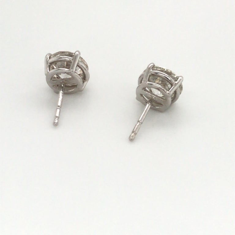 Women's or Men's Diamond Stud Earrings 3.00 Carat J VS2-SI1 14 Karat White Gold For Sale