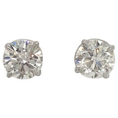 Diamond Stud Earrings 3.01 Carat G-H I1 14 Karat White Gold