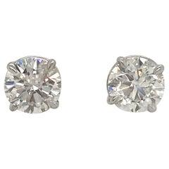 Diamond Stud Earrings 3.01 Carat G-H I1 14 Karat White Gold