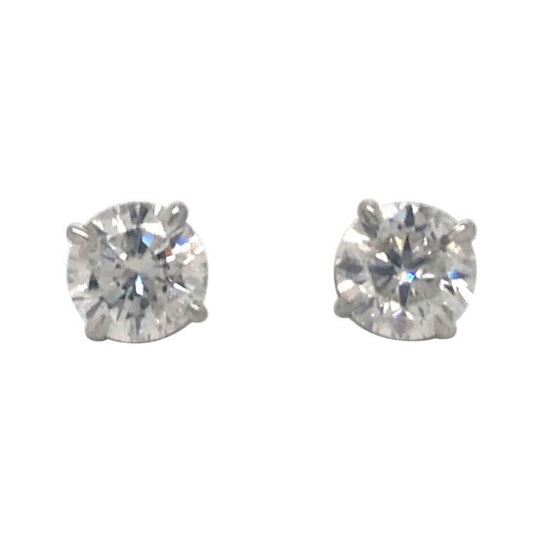 Diamond Stud Earrings 3.01 Carat H-I I1 14 Karat White Gold For Sale
