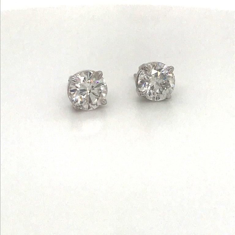 Contemporary Diamond Stud Earrings 3.01 Carat G-H I1 14 Karat White Gold For Sale