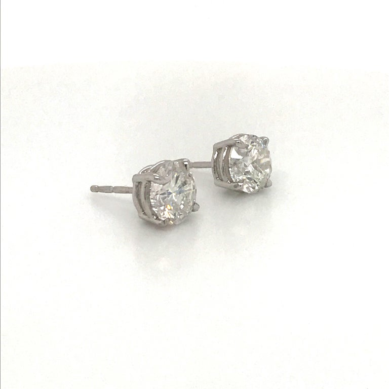 Round Cut Diamond Stud Earrings 3.01 Carat G-H I1 14 Karat White Gold For Sale