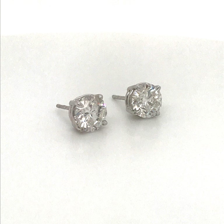 Diamond Stud Earrings 3.01 Carat G-H I1 14 Karat White Gold In New Condition For Sale In New York, NY