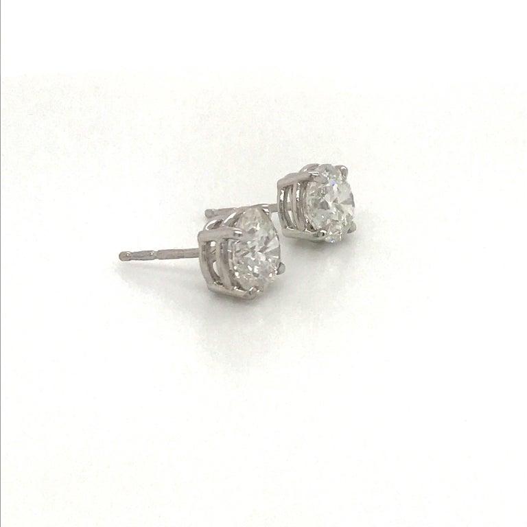 Women's or Men's Diamond Stud Earrings 3.01 Carat G-H I1 14 Karat White Gold For Sale