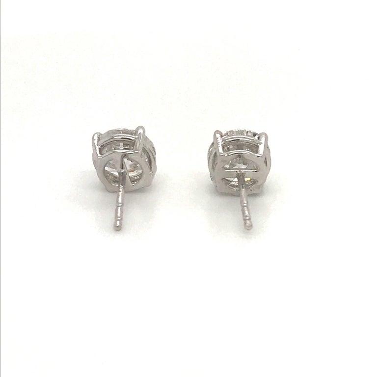 Diamond Stud Earrings 3.01 Carat G-H I1 14 Karat White Gold For Sale 2