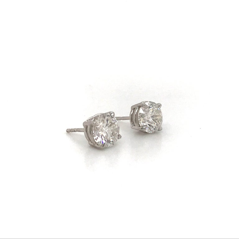 Contemporary Diamond Stud Earrings 3.01 Carat H-I I1 14 Karat White Gold For Sale