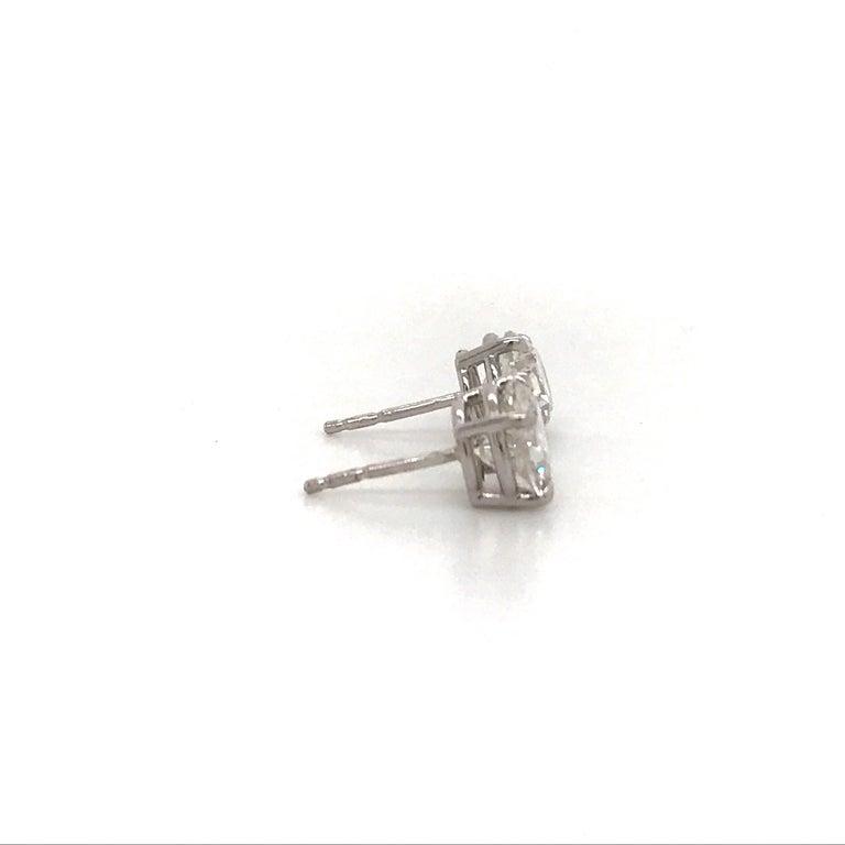 Round Cut Diamond Stud Earrings 3.01 Carat H-I I1 14 Karat White Gold For Sale