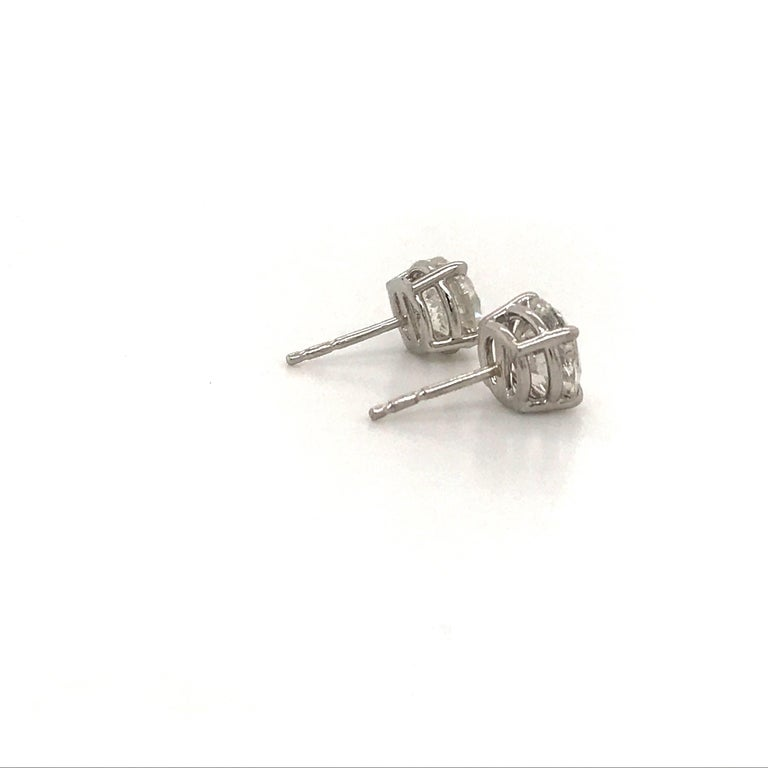 Diamond Stud Earrings 3.01 Carat H-I I1 14 Karat White Gold In New Condition For Sale In New York, NY