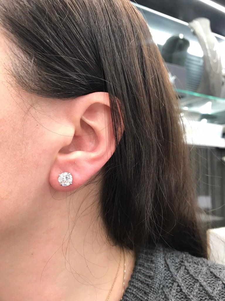 Women's or Men's Diamond Stud Earrings 3.01 Carat H-I I1 14 Karat White Gold For Sale