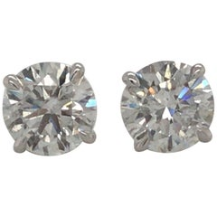 Diamond Stud Earrings 3.06 Carat G-H SI3-I1 18 Karat White Gold