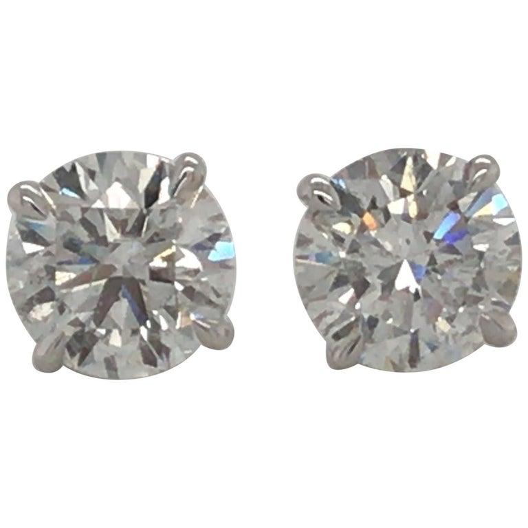 Diamond Stud Earrings 3.06 Carat G-H SI3-I1 18 Karat White Gold For Sale