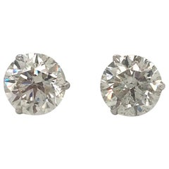 Diamond Stud Earrings 3.06 Carat H SI3-I1 18 Karat White Gold