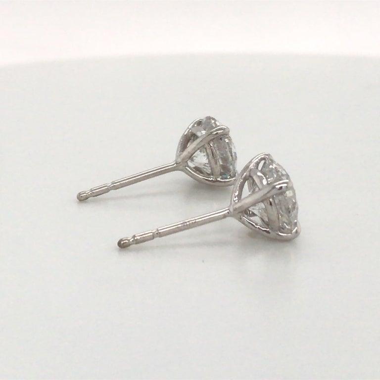 Women's or Men's Diamond Stud Earrings 3.06 Carat G-H SI3-I1 18 Karat White Gold For Sale