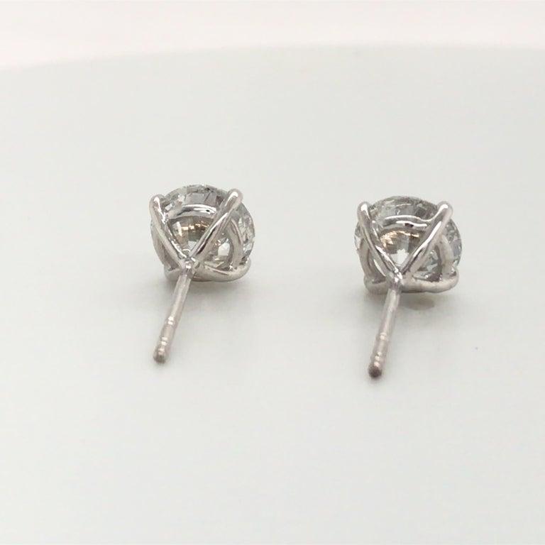 Diamond Stud Earrings 3.06 Carat G-H SI3-I1 18 Karat White Gold For Sale 1