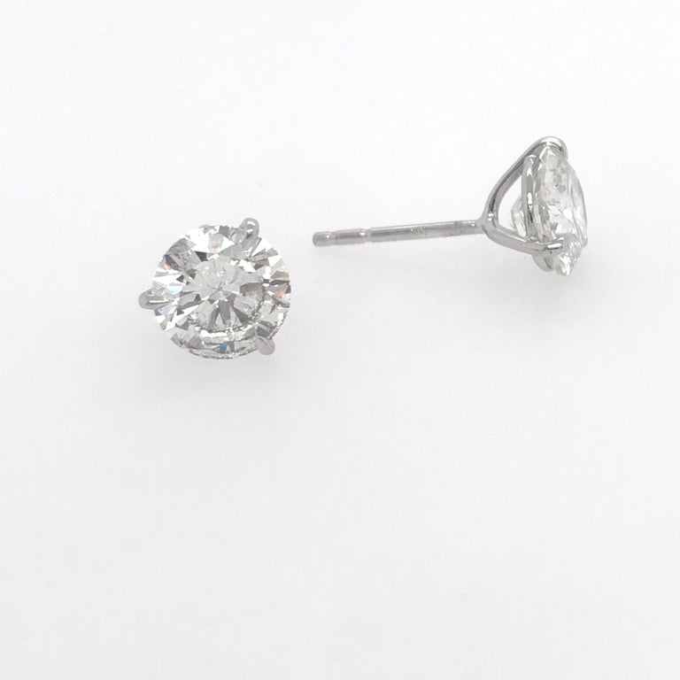 Contemporary Diamond Stud Earrings 3.06 Carat H SI3-I1 For Sale