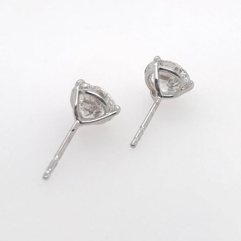 Diamond Stud Earrings 3.06 Carat H SI3-I1 In New Condition For Sale In New York, NY