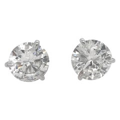 Diamond Stud Earrings 3.06 Carat H SI3-I1